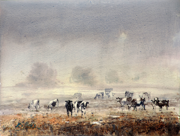 Cows emerge from the mist