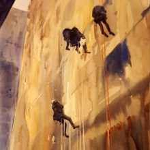 Abseiling cleaners